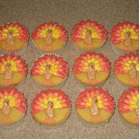 Thanksgiving Turkey Cupcakes   These are vanilla cupcakes with buttercream frosting.