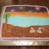 Sunset With Fireworks Beach Cake Cake is decorated with buttercream icing. Used a store bought cinnamon/sugar mix for the sand. Chairs are scrapbook stickers.