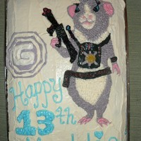 G-Force This is a cake starring my niece's favorite character from the movie G-Force - the girl guinea pig, named Juarez. It was hand-drawn...