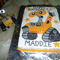 Wall-E Cake Here's a cake I made for my niece of her favorite movie character, Wall-e. He was hand-drawn onto the cake, using her electronic Wall-...