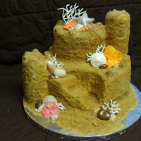 Sandcastle Cake Two tier pina colada cake with rum buttercream for a tropical bridal shower. I used rice crispy treats for the towers, a mixture of sugars...