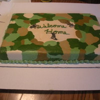 Camo Welcome Home Cake Full sheet, all marble. Welcome home cake for a guy home from Iraq!