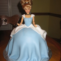 Cinderella Cake Skirt is fondant covered cake and fondant covered bodice