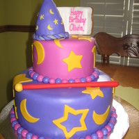 "Wizards Of Waverly Place Themed Cake two tier cake, fondant covered decorated with fondand covered cripy treat wizard hat and spell book, ""Alex's"" wand also made..."