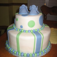 Baby Bootie Baby Shower Cake fondant baby booties top this fondant covered and decorated cake