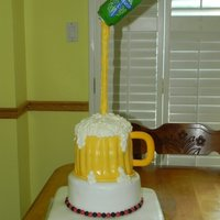 Cheers!! Beer can pouring into a cake mug!!