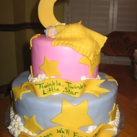 Twinkle Twinkle Baby Shower Cake fondant covered with fondant baby, blanket, and moon too!!