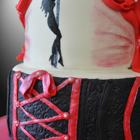 Pole-Dancing Cake For Bridal Shower!  Pink champagne cake with cheesecake filling for a friend's bridal shower/bachelorette party. She's having a pole-dancing class...