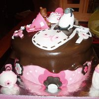 Brown And Pink Christening Cake