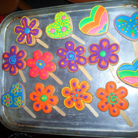 Hippie Cookies! Multicolored cookies made to accompany a 60's inspired birthday cake
