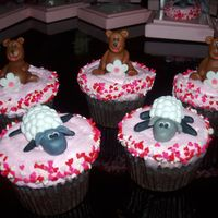 Christening Cupcakes With GP Sheep and Bear toppers