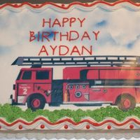 2Nd Birthday Firetruck This is an edible image with airbrushed clouds.