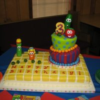 Veggie Tales  this was for my daughter's 3rd birthday, ordered the Veggie Tales playdough set and it had the eyes, nose and tops for the veggies,...