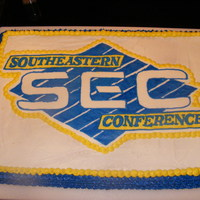 Sec Cake   This was for a party we had for the first football game. It's white cake with a buttercream transfer.