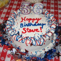 Partriotic Birthday Birthday cake for my husband, whose birthday is the day after the Fourth of July, so I killed two birds with one stone.