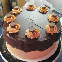 Peanut Butter Cup Chocolate cake with peanut butter buttercream, chocolate ganache and pb cup accents