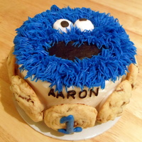 Cookie Monster Smash Cake   This is a smash cake that went with the matching sheet cake in my gallery.