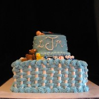 Baby Boy Shower Cake Made this for a friend's baby shower. The baby's dad is an Auburn grad. The bottom tier was tiramisu cake and the top tier was...