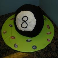 8 Ball Cake 8 ball cake for my son's 8th birthday. He loves playing pool with his dad so I thought this would be a fun cake. He asked for a...