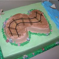 Train Tracks I got this idea from several cakes on CC. I used a number 2 pan for the top cake, which is just set on top of a 9x13 with no supports since...