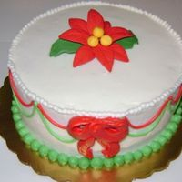 "Poinsettia This is a small 6"" cake - strawberry and chocolate layers with chocolate cream filling. I'm not happy with the bow - the icing..."