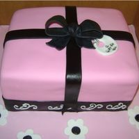 Gift Box Lemon Cake and Strawberry Cake with Coconut Rum filling and Pettinice fondant. Gumpaste bow.