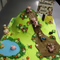 Piggy Fun The customer wanted a birthday cake for her two grown daughters. One was a nurse who really likes pigs and just got a puppy, the other has...