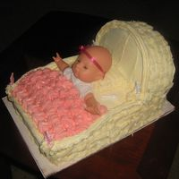 Baby Carriage Cake Buttercream Icing, Basketweave design, baby carriage cake made from two 1/4 sheet cakes stacked and round cake cut in half for top part.