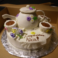"Tea Time! This is a bridal shower cake where the theme was a ""Tea Party"" so I tried to match the teapot and cups to the theme colors and..."