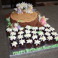 "Fairies In The Forest 10"" cake for the stump with mini cupcakes for the roots covered in chocolate b/c. Fairies and accents are all fondant. Thank you to CC..."