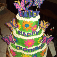 Bright Butterflies Birthday 3-tier w/ BC icing, all deco is choc. candy melts.