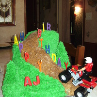 4-Wheelin This was a really fun cake to do. French vanilla cake, all BC deco, the pine trees (that you cant hardley see) are icecream cones with BC....