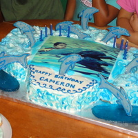 Dolphin Ride  Edible photo for the top of the cake of my grandson swimming with a dolphin. The rest of the dolphins are sugar cookies I hand cut...
