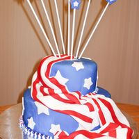 Patriotic I made this for a Memorial Day cake auction. All decorations are fondant.