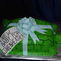 Turtle Baby Shower Cake Vanilla cake slightly carved and covered with buttercream (customer did not want fondant).