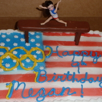 Gymnast Cake Gymnast cake for girl birlthday- she wants to be and olympic gymnast. Used template I made and cake spray for flag on buttercream. Balance...