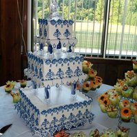 My Wedding Cake Almost ALL styrofoam cakes. Small section on the bottom is vanilla with strawberry filling for us to cut (yes I did my own wedding cake)....
