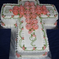 First Communion Cross Cake Vanilla with strawberry filling- had to custom make this cake with several sheets of 12x19 cake to feed the correct amount. All buttercream...