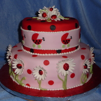Lady Bug Theme Vanilla cake with strawberry filling. Fondant and gumpaste decorations