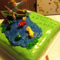 Fishing Cake   This was a last minute order for a birthday cake, all they said was fishing. So here's what I ended up with