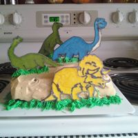 Dinosaur Cake   I did this cake for a son of my daugther's teacher. It was my first time doing a color flow.