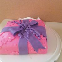 First Time Fondant Cake   I made this in my Course 3 class, not bad for a first fondant cake :)
