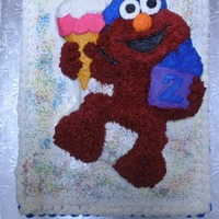 Elmo Cake - Placed On Top Of White Sheet Cake