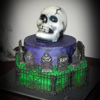 "3D Skull And Cemetery The cake is 15"" hexagon, 10"" round and 3D skull. The skull is Red Velvet cake. The other 2 are marble caked with White Almond..."