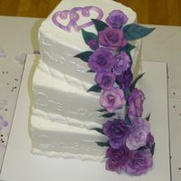 "Purple Roses And Square Tiers Pretty sure this was 8"", 10"" and 12"" squares. Chocolate for the bottom tier and Vanilla for the other 2. Iced with..."