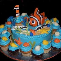 Nemo For First Birthday Nemo is made with fondant covered stryofoam. The cake is choc and vanilla filled with cookies and cream. Shells are made from candy melts...