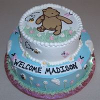 Classic Pooh 2 tiers, buttercream with chocolate transfer Pooh
