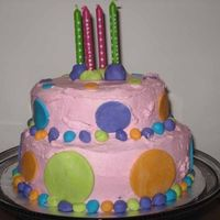 Polka Dot B-Day Cake  My first stacked cake and first homemade fondant. It's a little lopsided but the birthday person loved it and it was yummy (WASC,...