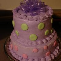 "Polka Dots :)   My first tiered cake. Layers are 9 and 6"". Covered in buttercream with royal icing polka dots."