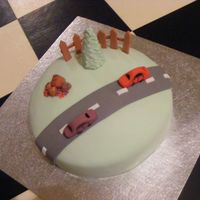 Car Cake Another view of birthday cake for four year old boy. All Fonant.
